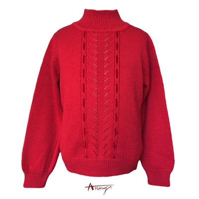 Annys氣質編織穿線設計毛衣上衣*5636紅