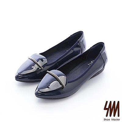SM-真皮手作-鏡面飾條素面尖頭平底楔型休閒鞋-藍色