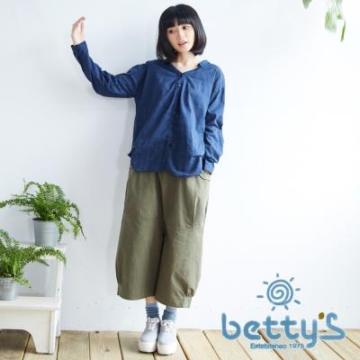 betty's貝蒂思 日系造型寬鬆七分褲(軍綠色)