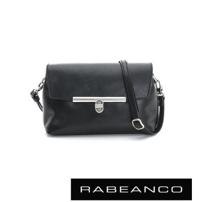 RABEANCO-迷時尚系列經典轉扣撞色斜背包-黑