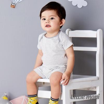 Little moni 純棉家居系列條紋短袖連身裝 灰色