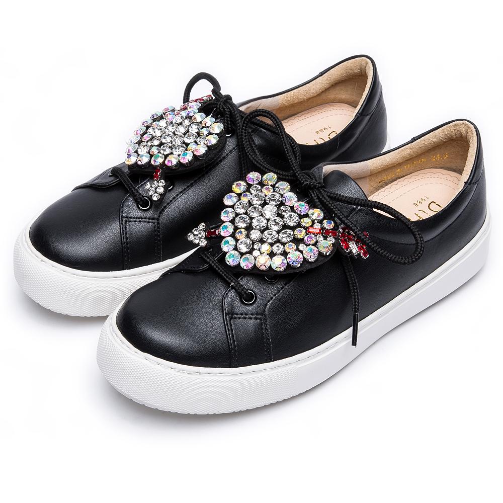 DIANA 漫步雲端焦糖美人款--可拆式愛心水鑽綁帶輕量休閒鞋-黑