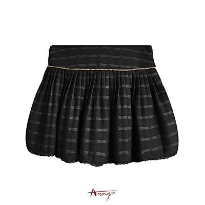 Annys優雅亮絲壓紋線條蕾絲襬短裙*7280黑