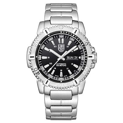 LUMINOX MARINER 水手系列200米潛水機械腕錶-黑x銀時標/45mm