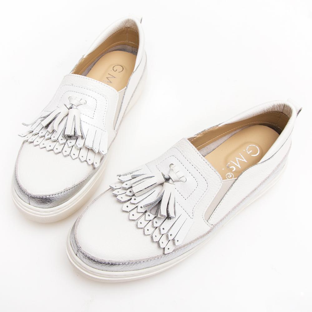 G.Ms. MIT系列-流蘇拼接雙色牛皮厚底休閒鞋-白色