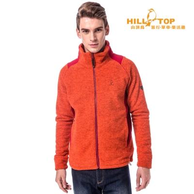 【hilltop山頂鳥】男款吸濕刷毛外套H22MV7橘紅麻花/紅