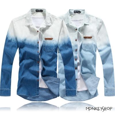 小猴子的賣場 輕時尚質感款單寧漸層刷色長袖襯衫-2色
