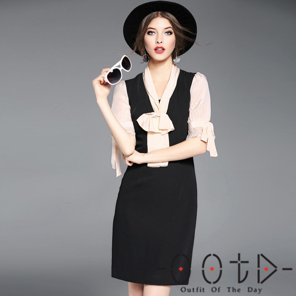 V領蝴蝶結蕾絲袖拼接洋裝 (黑色)-OOTD