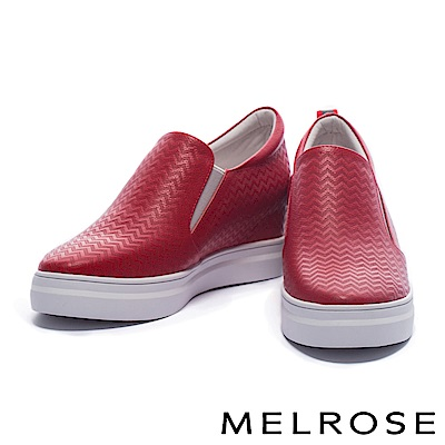 休閒鞋 MELROSE 獨特撞色設計鋸齒壓紋牛皮厚底休閒鞋-紅