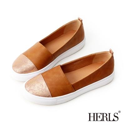 HERLS-街頭玩味 異材質拼接SLIP ON懶人鞋-粉棕