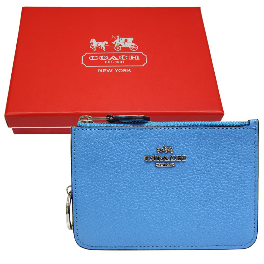 COACH 立體馬車荔枝紋皮革卡夾/零錢鑰匙包-天藍色(附原廠禮盒)COACH