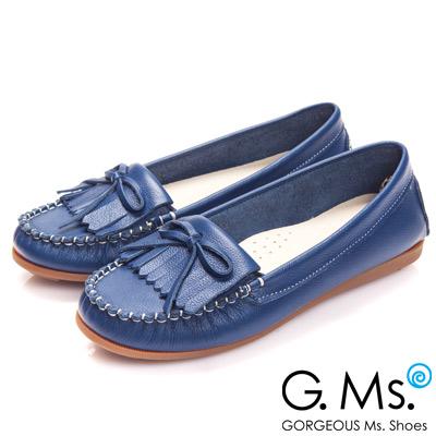 G.Ms. MIT系列-舒適牛皮流蘇蝴蝶結莫卡辛鞋-率性藍