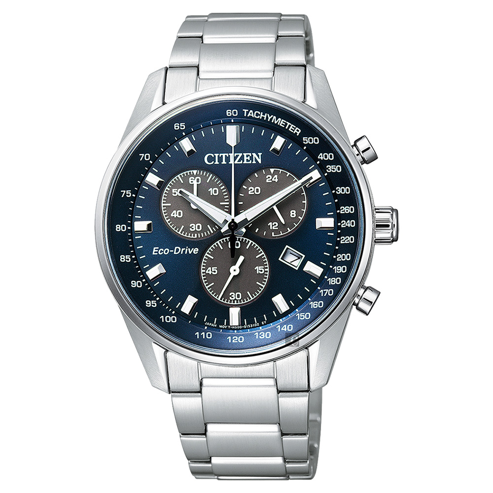 CITIZEN星辰 Eco-Drive 光動能計時手錶-藍x銀/40mm