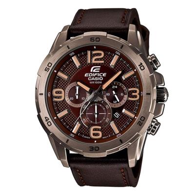 EDIFICE簡單三眼設計仿輪胎壓紋賽車計時皮帶錶(EFR-538L-5A)-咖啡面/49mm
