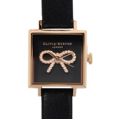 Olivia Burton 3D蝴蝶結方形錶盤 黑色真皮錶帶玫瑰金框-23mm