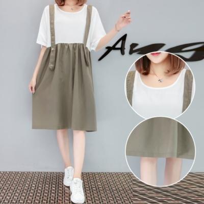 中大尺碼 白綠配色吊帶裙拼接寬鬆洋裝XL~4L-Ballet Dolly
