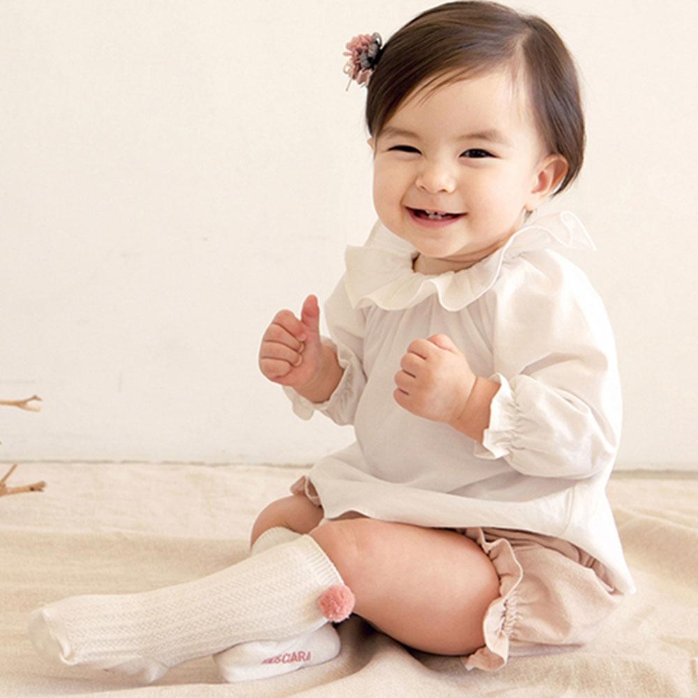 韓國 Happy Prince 粉毛球雙邊毛球直條羅紋嬰兒長襪