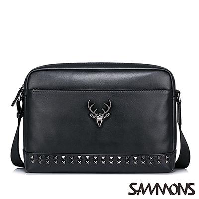 SAMMONS-真皮亞歷克斯鉚釘斜背包-龐克黑