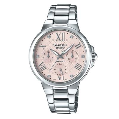 SHEEN耀眼風采羅馬數字時刻藍寶石鏡面腕錶(SHE-3511D-4)粉面X銀40mm