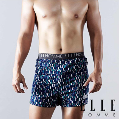ELLE HOMME 時尚印花平口四角褲/男內褲