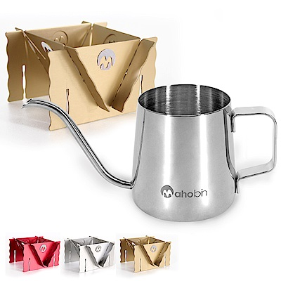 Mahobin魔法瓶 304不鏽鋼手沖壺細嘴壺350ml+專利鋁合金濾泡耳掛式兩用咖啡