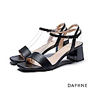 達芙妮DAPHNE 涼鞋-一字帶粗跟涼鞋-黑