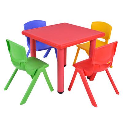韓式撞色多彩兒童遊戲桌椅-一桌四椅-附學習圖案版