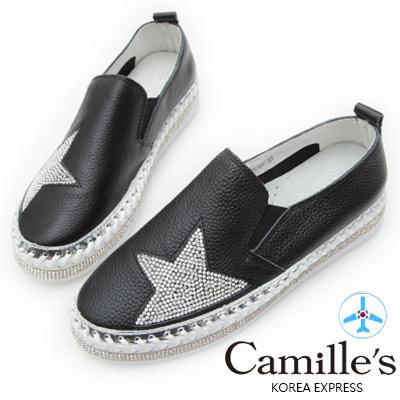 Camille's 韓國空運-正韓製-鑽石厚底懶人鞋-星星款-黑色