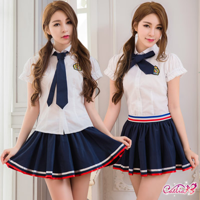 角色扮演 俏麗學生妹百褶裙角色扮演服三件組(藍+白F) Caelia