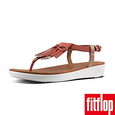 FitFlop TIA FRINGE TOE THONG SANDALS磚紅/金