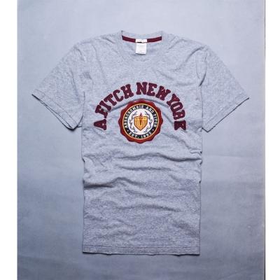 A-F-Abercrombie-Fitch-美式圖騰貼布圓領短袖T恤-麻花灰