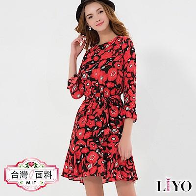 LIYO理優印花雪紡荷葉洋裝(紅)-動態show