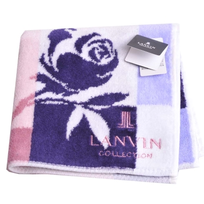 LANVIN 優雅玫瑰圖騰品牌LOGO刺繡小方巾(紫/藍/豆沙系)