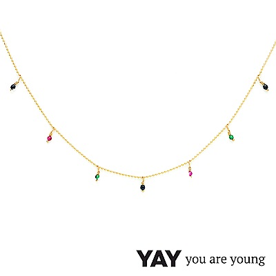 YAY You Are Young 法國品牌 Frida 寶石花束項鍊 彩鑽X星辰豆豆