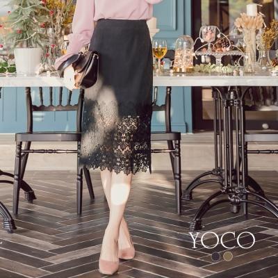 東京著衣-yoco 法式優雅下擺拼接蕾絲裙-S.M.L(共二色)