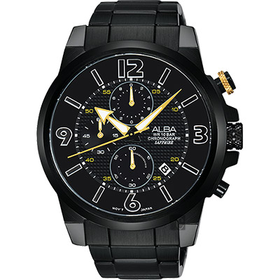 ALBA ACTIVER 系列活力運動計時腕錶(AM3399X1)-鍍黑/44mm