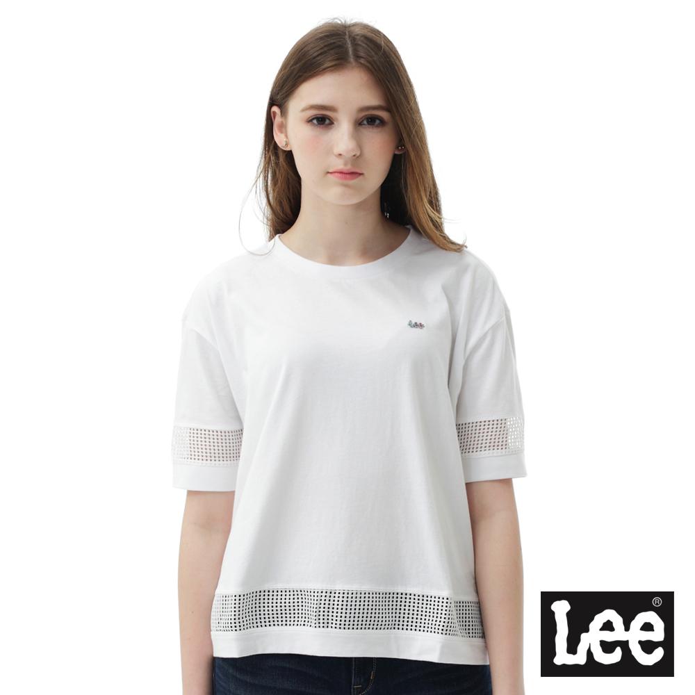 Lee 短袖T恤 彩虹logo標短版素色短袖圓領TEE/RG-女款-白