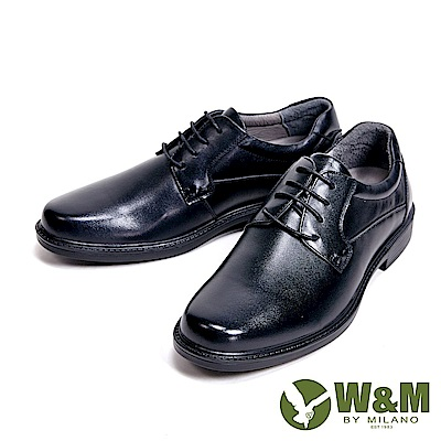 W&M 氣墊舒適素面綁帶款 男皮鞋-黑