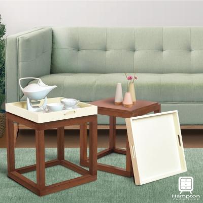 漢妮Hampton安琪拉多功能小托盤茶几組(木+白)/凳子/書架/桌子/置物架