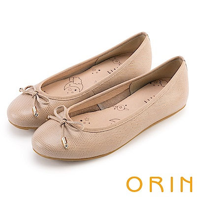 ORIN 氣質女孩 經典壓紋牛皮平底娃娃鞋-膚色