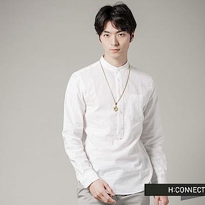 H:CONNECT 韓國品牌 男裝 - 純色亨利領長袖襯衫 - 白(快)