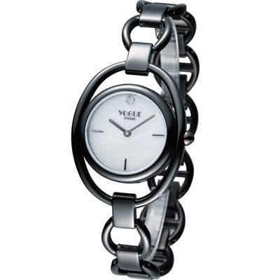 VOGUE 簡約出眾時尚腕錶-銀x黑/30mm