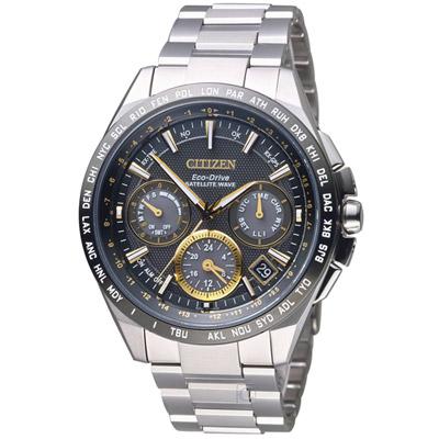 CITIZEN 光動能 鈦感光GPS衛星計時腕錶(CC9015-54F)-黑/43.5mm