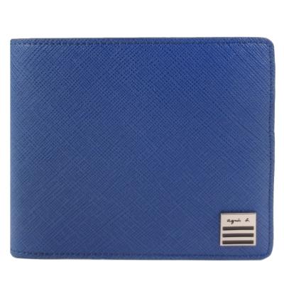 agnes b.條紋小鐵牌防刮男短夾/含錢袋(寶藍)