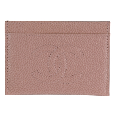 CHANEL 魚子醬牛皮卡片夾(粉紅)-展示品