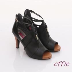effie 都會風情 交叉繫帶金屬綴飾魚口高跟鞋  黑色