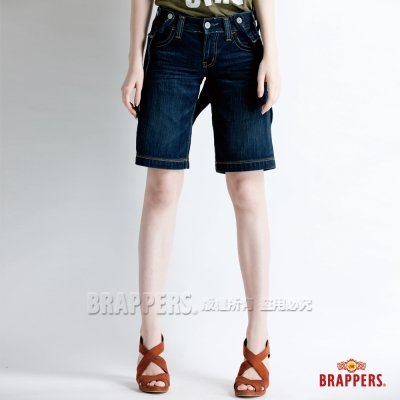 BRAPPERS 女款 吊帶褲系列-女用吊帶五分褲--藍