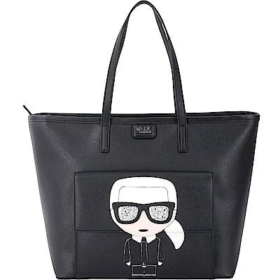 KARL LAGERFELD K/IKONIK 老佛爺圖案防刮皮革購物包(黑色)