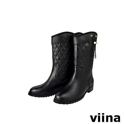 viina 菱格紋抽繩中筒雨靴-黑色