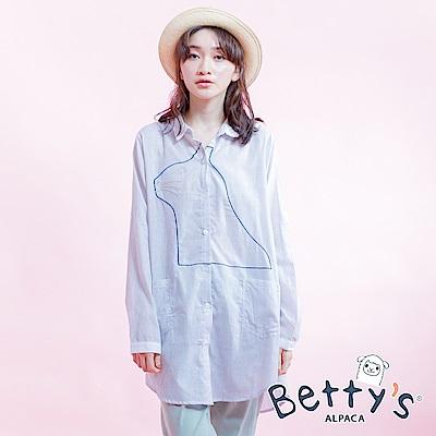 betty's貝蒂思 直條紋長版襯衫(淺灰)
